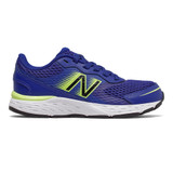 New Balance Kid's 680v6 - Marine Blue with Lemon Slush and Black - Profile