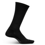 Feetures Men's Everyday Classic Rib Cushion Crew Socks - Black - Profile