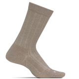 Feetures Women's Everyday Ultra Light Textured Crew Socks - Oatmeal - Profile