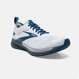 Brooks Men's Ricochet 3 - White / Grey / Blue - 110361-199 - Angle