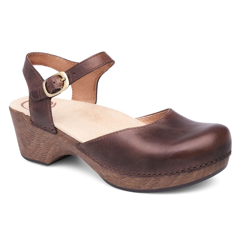 Dansko Women's Sam - Teak Vintage Pull Up - 9840-677000 - Angle