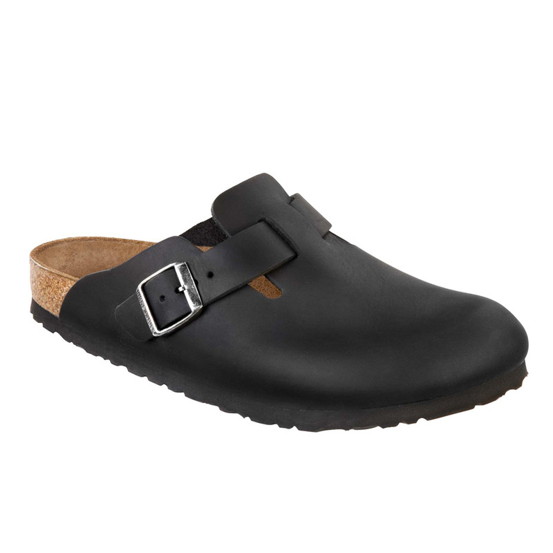 Birkenstock Boston - Black Oiled Leather (Regular Width) - 59461 - Angle