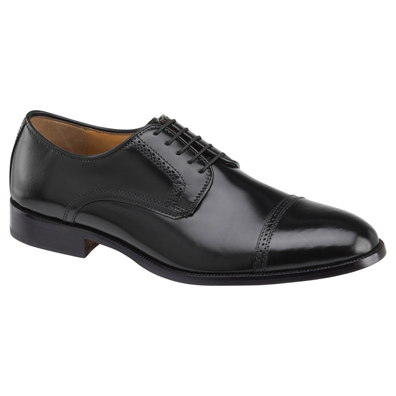 Johnston & Murphy Men's Bradford Cap Toe - Black Brush-Off Leather - 15-1771 - Main