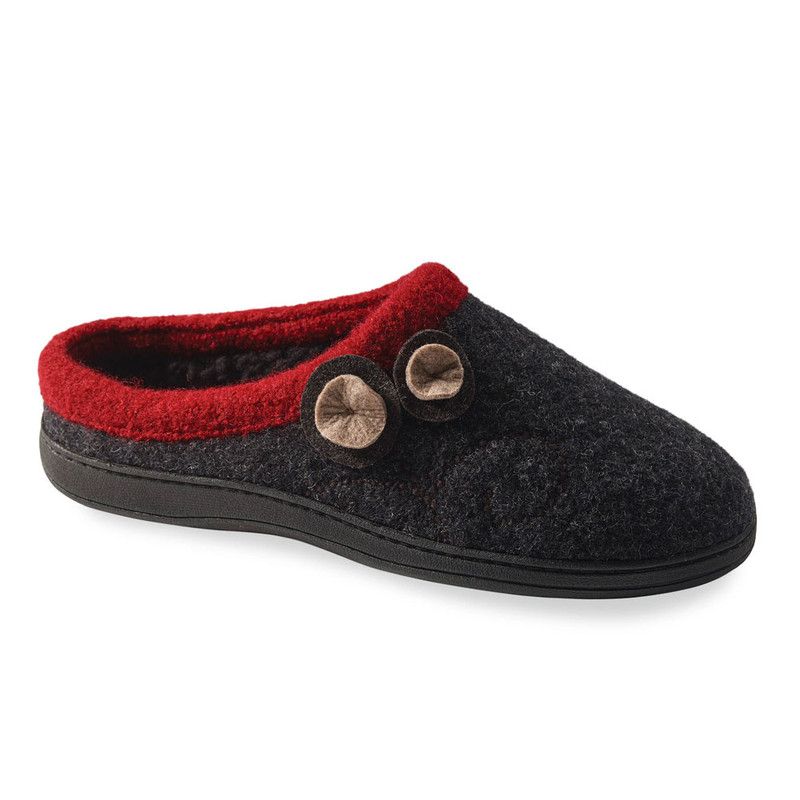 Acorn Women's Acorn Dara Slippers - Charcoal Button (A10151/CLB) - Profile