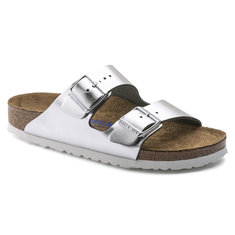 Birkenstock Arizona Soft Footbed - Metallic Silver (Narrow Width) - 1005961 - Main