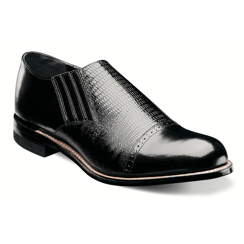 Stacy Adams Men's Madison Cap Toe Slip On - Black - 00067-001 - Angle
