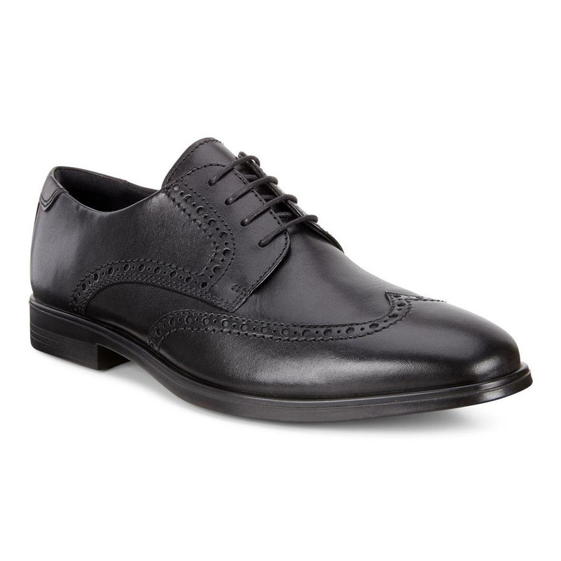 ECCO Men's Melbourne Wingtip Tie - Black - 621664-01001 - Main Image