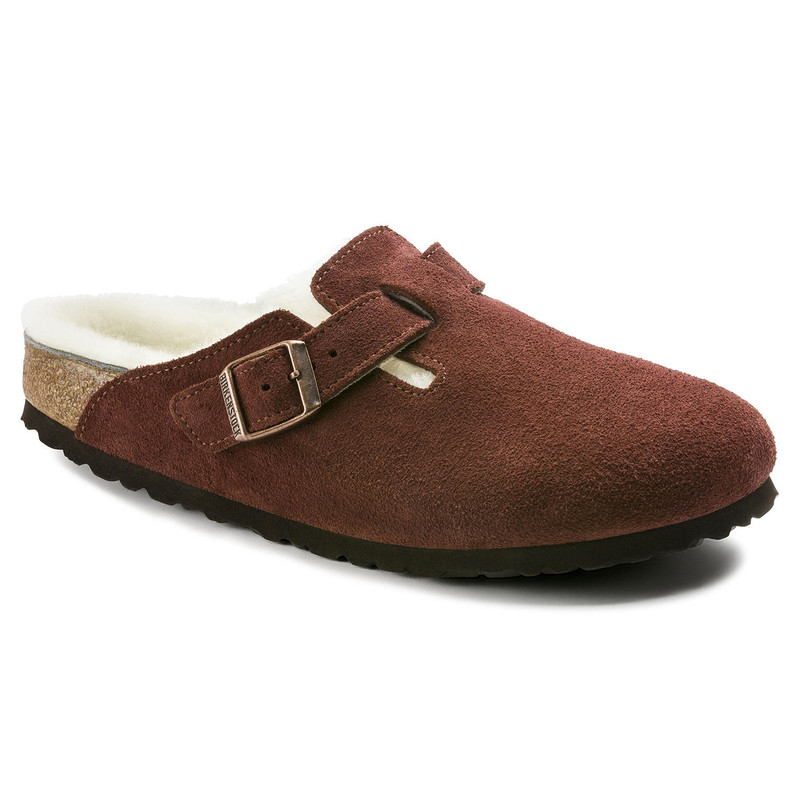 Birkenstock Boston Shearling - Port Suede (Regular Width) - 1012251