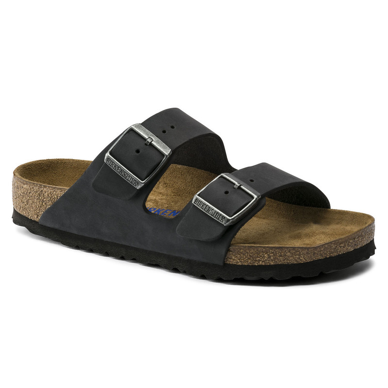 Birkenstock Arizona Soft Footbed - Black Oiled Nubuck (Narrow Width) - 752483 - Main
