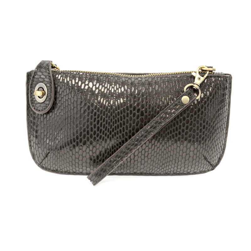 Joy Susan Python Mini Crossbody Wristlet Clutch - Charcoal - L8003-10 - Profile
