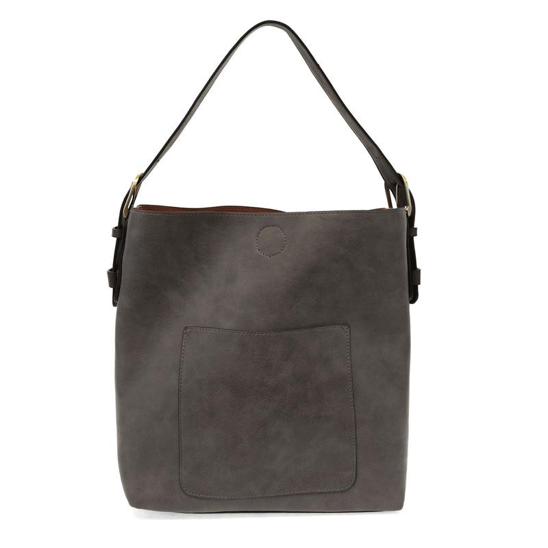 Joy Susan Classic Hobo Handbag - Charcoal / Black - L8008-170 - Profile