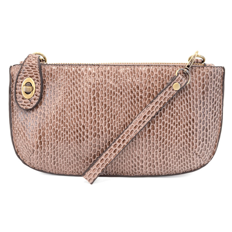 Python Mini Crossbody Wristlet Clutch - Mauve - L8003-44 - Profile