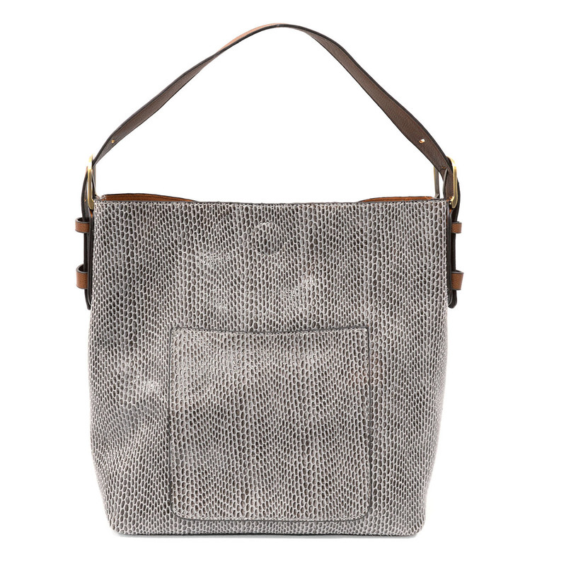 Joy Susan Python Sara Bucket Bag - Light Grey - L8031-29 - Profile