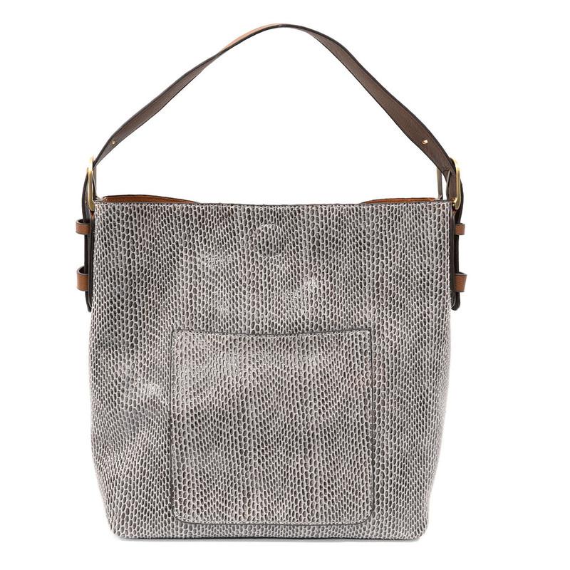 Joy Susan Python Sara Bucket Bag - Light Grey - L8031-29 - Profile