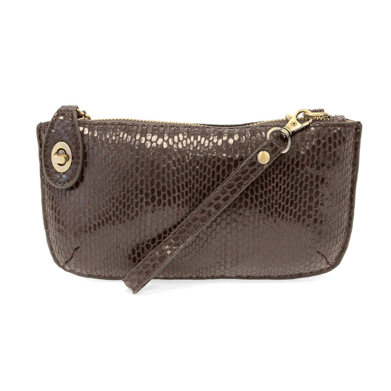 Python Mini Crossbody Wristlet Clutch - Chocolate  - L8003-02 - Profile