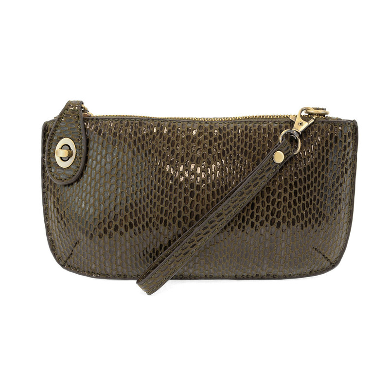 Python Mini Crossbody Wristlet Clutch - Olive - L8003-03 - Profile