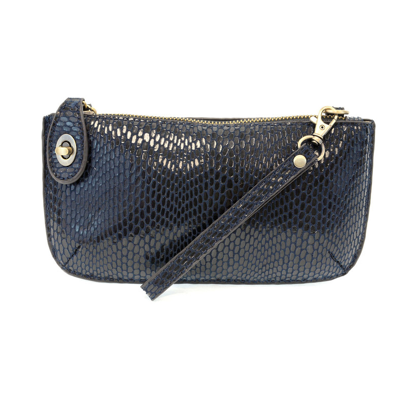Python Mini Crossbody Wristlet Clutch - Navy - L8003-07 - Profile