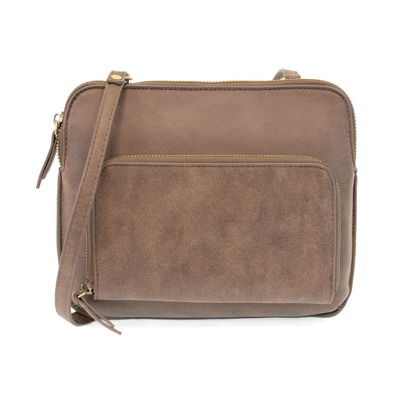 Joy Susan New Nicole Distressed Crossbody - Mocha - L8029-99 - Profile