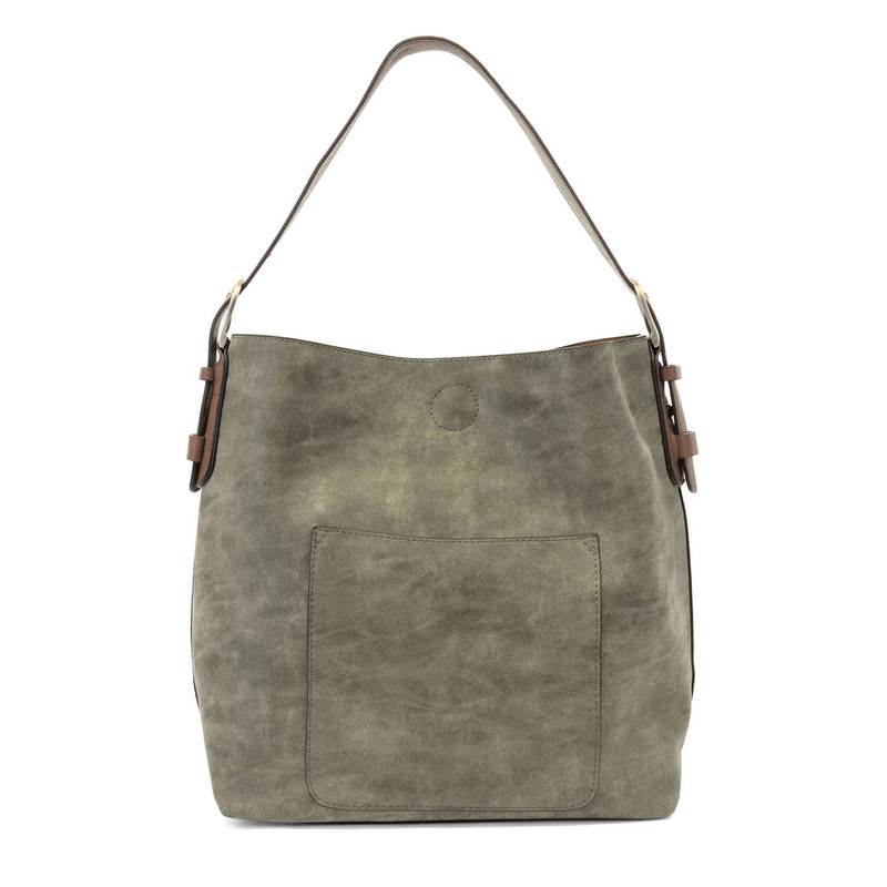Joy Susan Lux Hobo Handbag - Olive / Coffee - L8037-03 - Profile