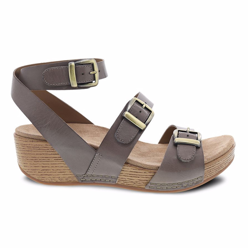 Dansko Women's Lou Sandal - Taupe Burnished Calf - 1821-1506 - Profile
