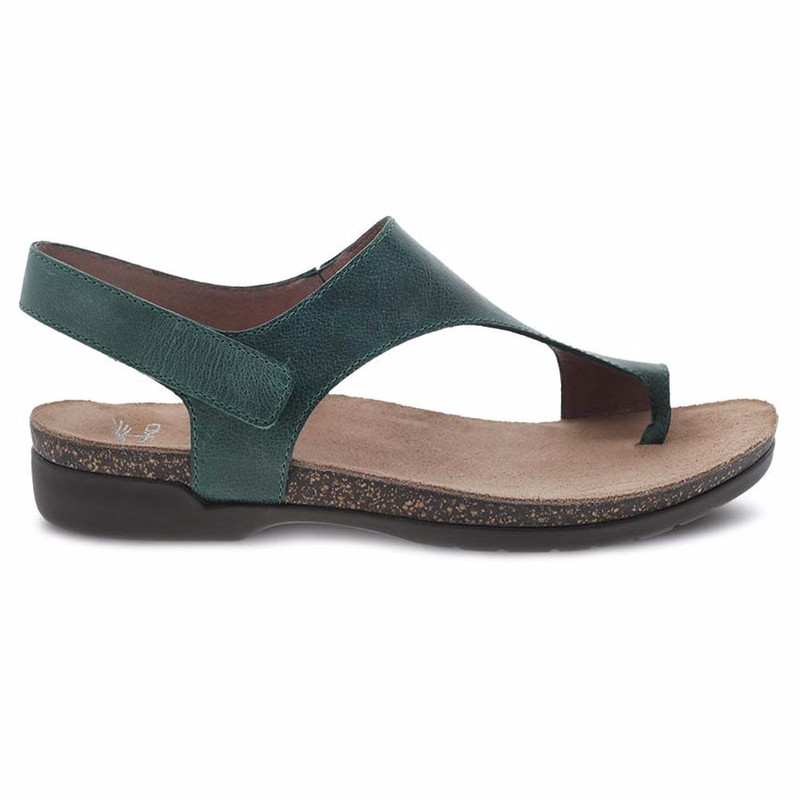 Dansko Women's Reece Sandal - Green Waxy Burnished - 6024-345300 - Profile