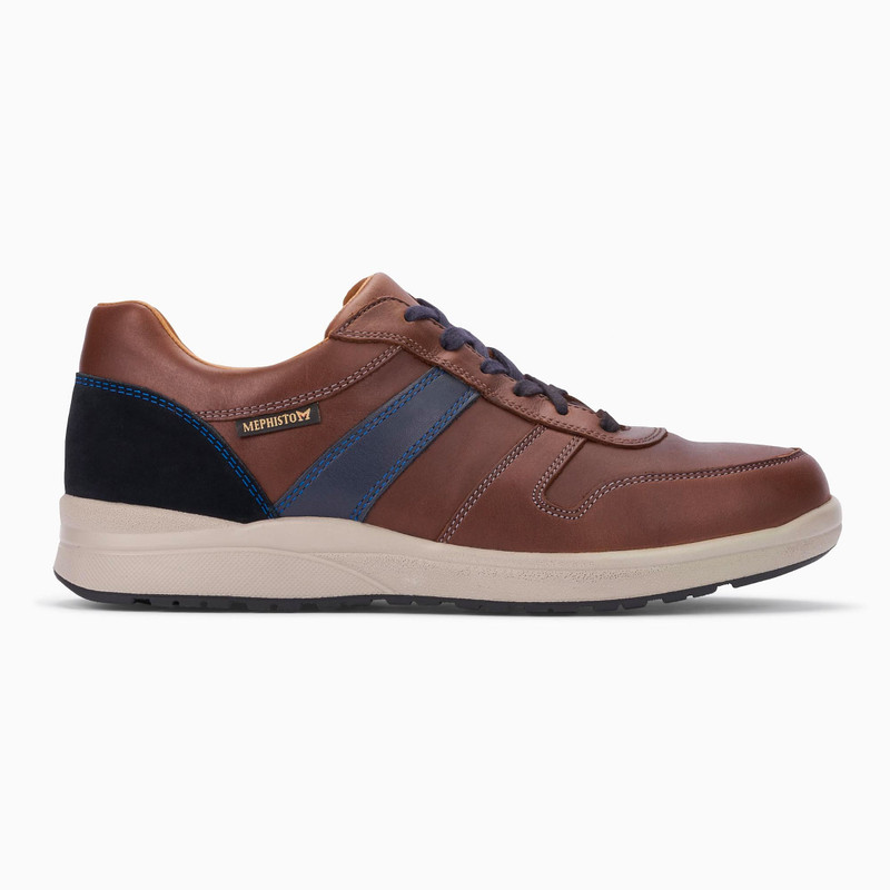 Mephisto Men's Vito - Chestnut / Navy Randy / Blue Suede - VITO6178/6145/3655 - Profile
