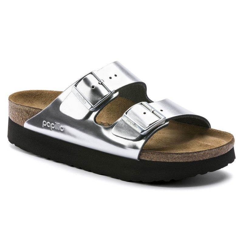 Birkenstock Arizona Platform Sandal - Silver Leather - 1013569 - Main Image