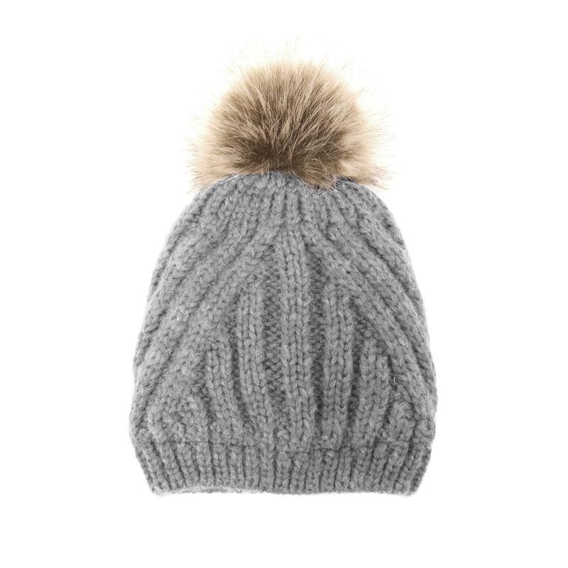 Joy Susan Women's Diagonal Knit Pom Pom Hat - Grey - G9864-10 - Profile