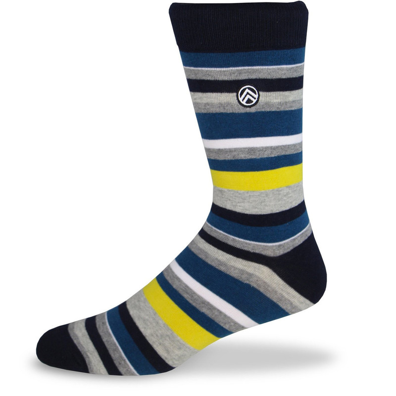 Sky Footwear Multi Striped Dress Socks - Black / White / Teal / Gray - Profile