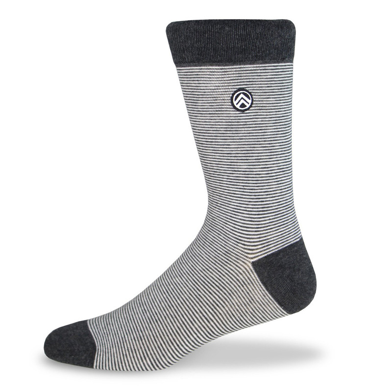 Sky Footwear Shades of Grey Striped Dress Socks - Black / Gray / White  - Main Image