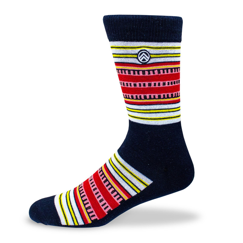 Sky Footwear Solar Eclipse Crew Socks - Black /Red / Yellow / Pink  - Main Image