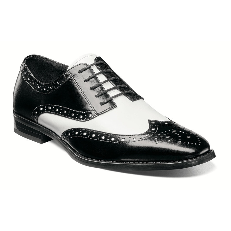 Stacy Adams Men's Tinsley Wingtip Oxford - Black & White - 25092-111 - Angle