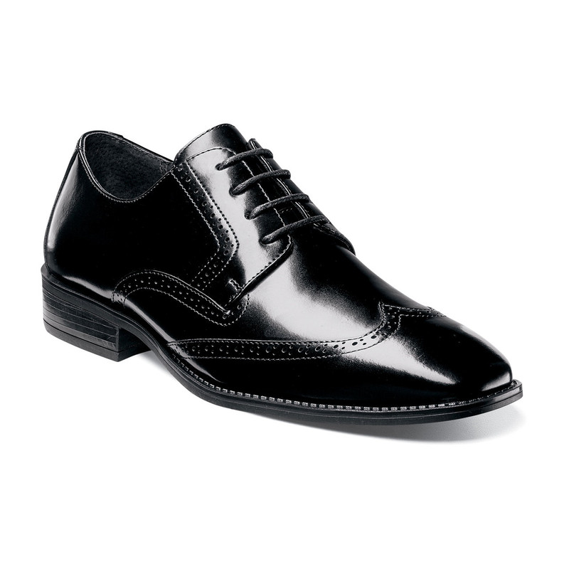 Stacy Adams Men's Adler Wingtip Oxford - Black - 20160-001 - Angle