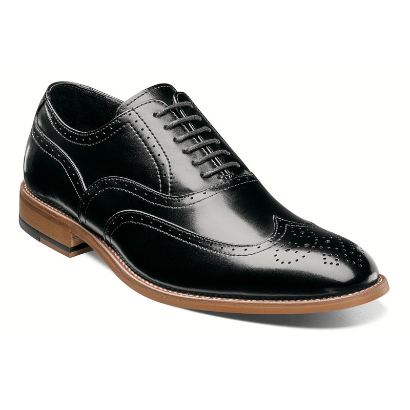 Stacy Adams Men's Dunbar Wingtip Oxford - Black - 25064-001 - Angle