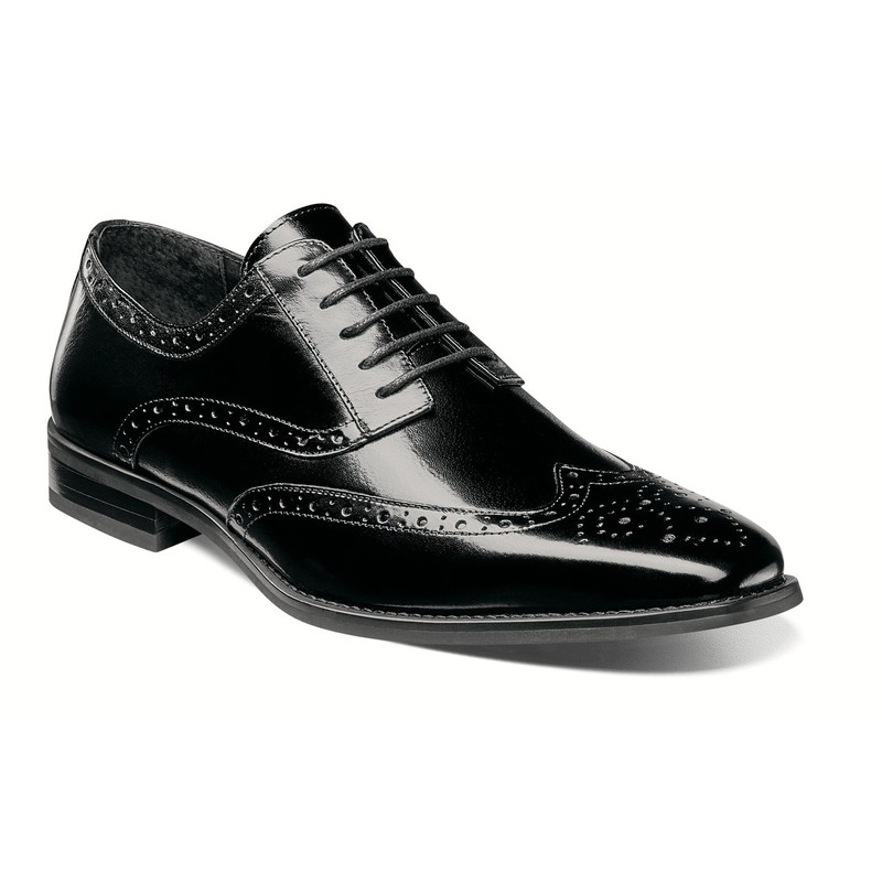Stacy Adams Men's Tinsley Wingtip Oxford - Black - 25092-001 - Angle