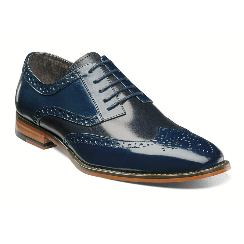 Stacy Adams Men's Tinsley Wingtip Oxford - Cobalt & Navy - 25092-468 - Angle
