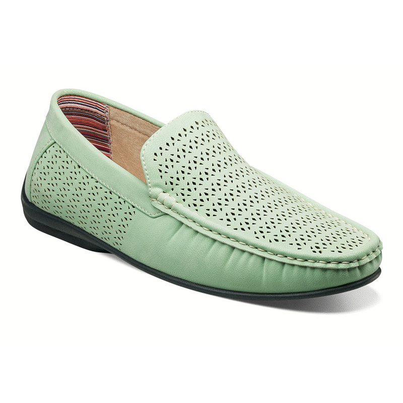 Stacy Adams Men's Cicero Perfed Moc Toe Slip-On - Light Aqua - 25172-447 - Angle