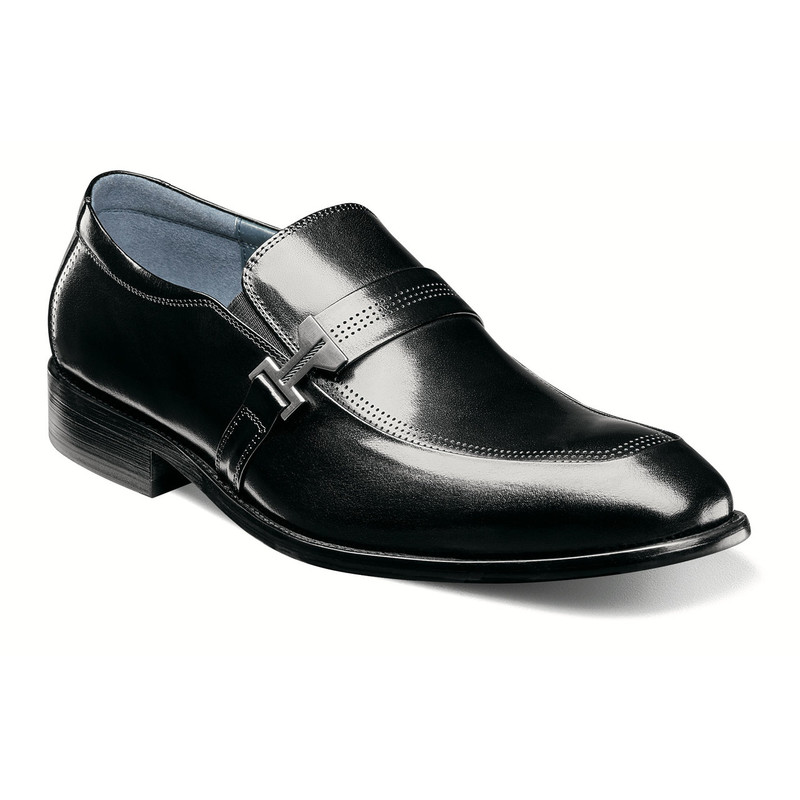 Stacy Adams Men's Jonas Moc Toe Ornament Slip-On - Black - 25206-001 - Angle