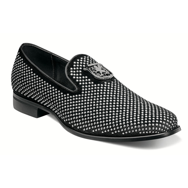 Stacy Adams Men's Swagger Studded Ornament Slip-On - Black & Silver - Angle