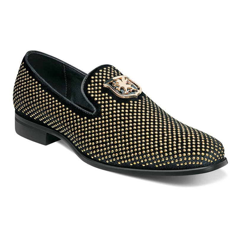 Stacy Adams Men's Swagger Studded Slip-On - Black & Gold - 25228-715 - Angle