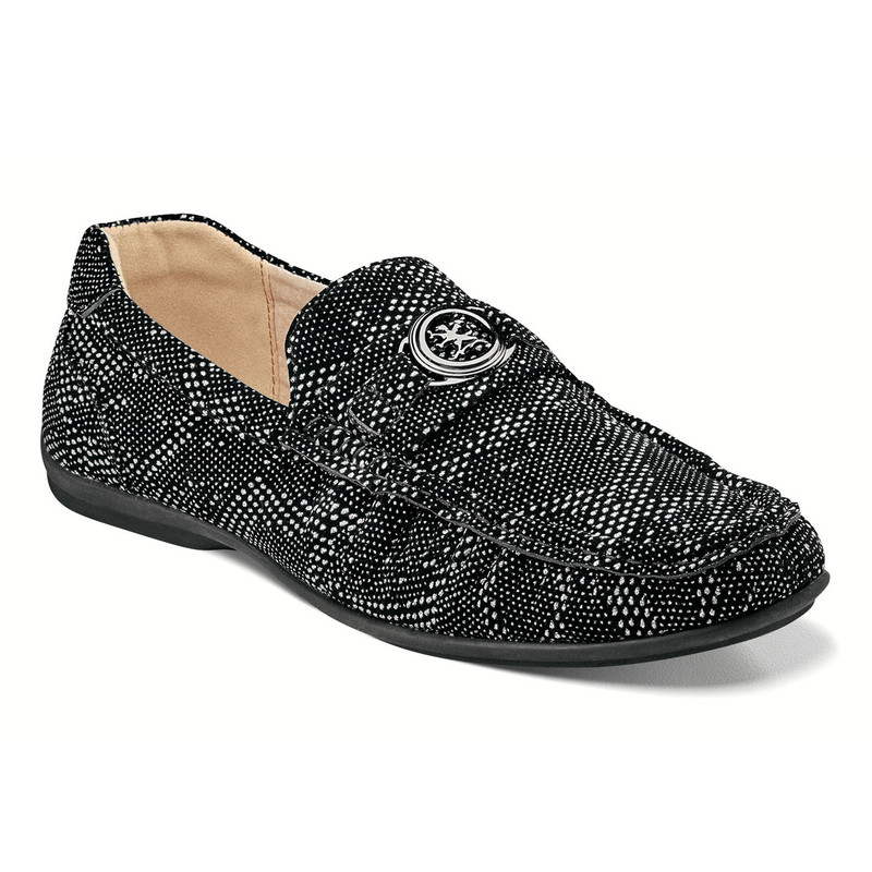 Stacy Adams Men's Cypher Moc Toe Slip-On - Silver & Black - 25263-042 - Angle