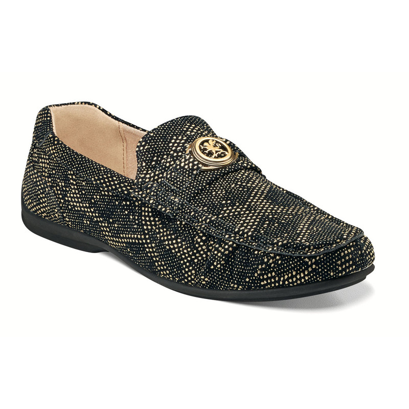 Stacy Adams Men's Cypher Moc Toe Slip-On - Black & Gold - 25263-715 - Angle