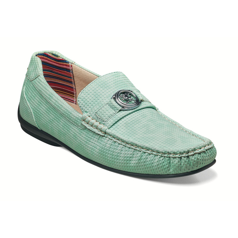 Stacy Adams Men's Cyd Moc Toe Bit Slip-On - Light Aqua - 25264-447 - Angle
