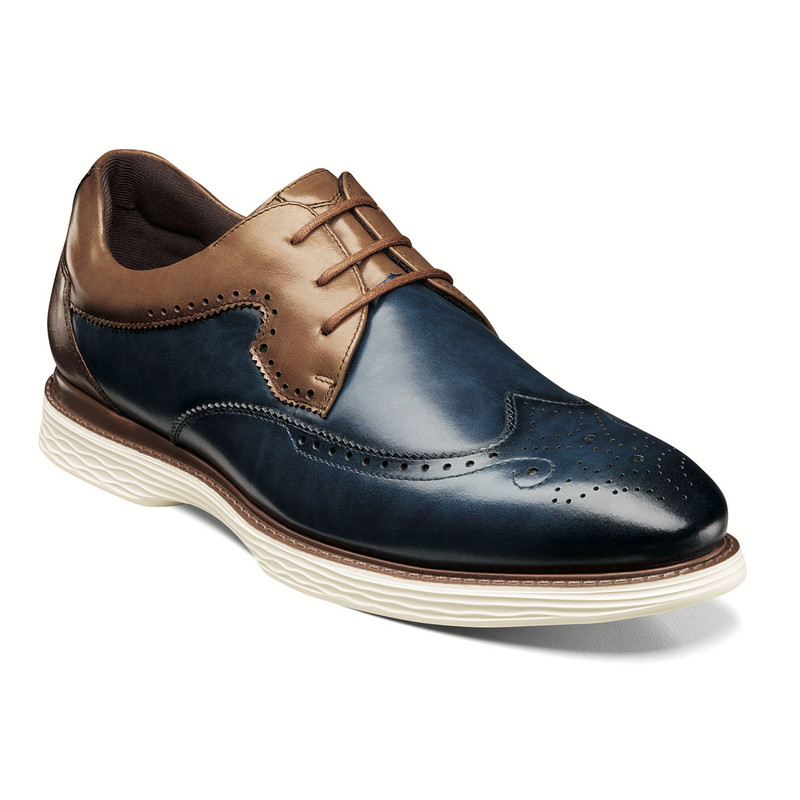 Stacy Adams Men's Regent Wingtip Oxford - Ink Blue & Tan - 25269-404 - Angle