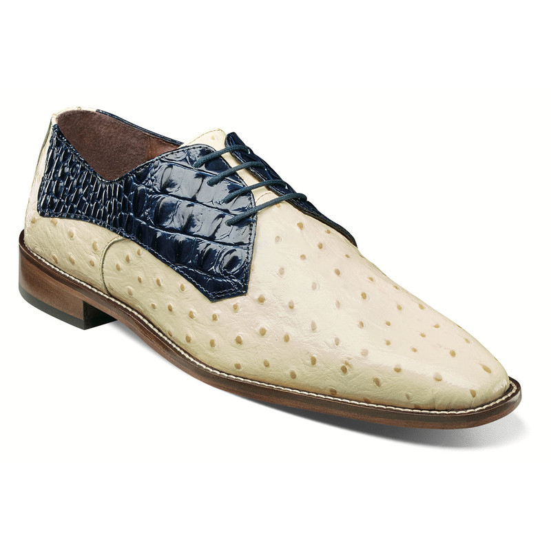 Stacy Adams Men's Russo Leather Sole Plain Toe Oxford - Blue Multi - 25273-460 - Angle