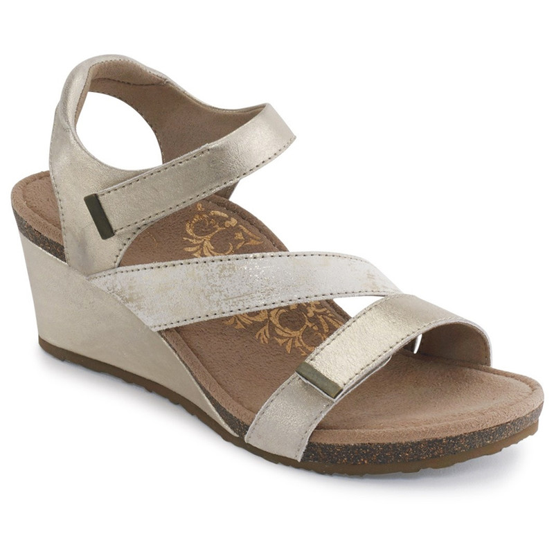 Aetrex Women's Brynn Quarter Strap Wedge Sandal - Gold - EW111 - Main