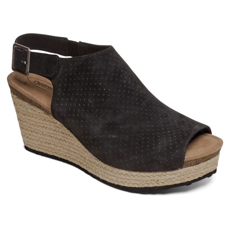 Aetrex Women's Sherry Espadrille Sandal Wedge - Black - EW720 - Main