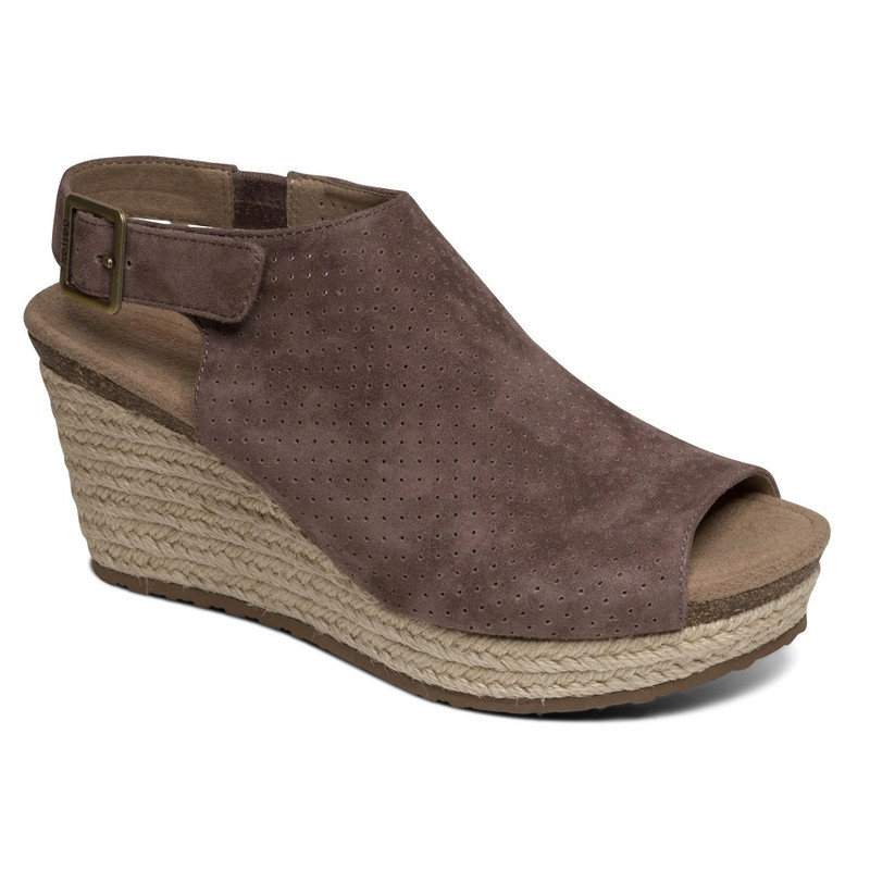 Aetrex Women's Sherry Espadrille Sandal Wedge - Deep Taupe - EW722 - Main