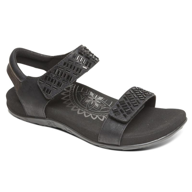 Aetrex Women's Marcy Strap Sandal - Black - SE290 - Main