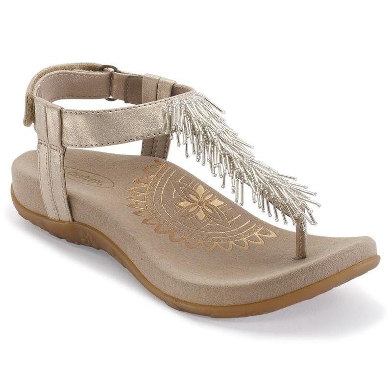Aetrex Women's Portia Fringe Sandal - Champagne - SE399 - Main